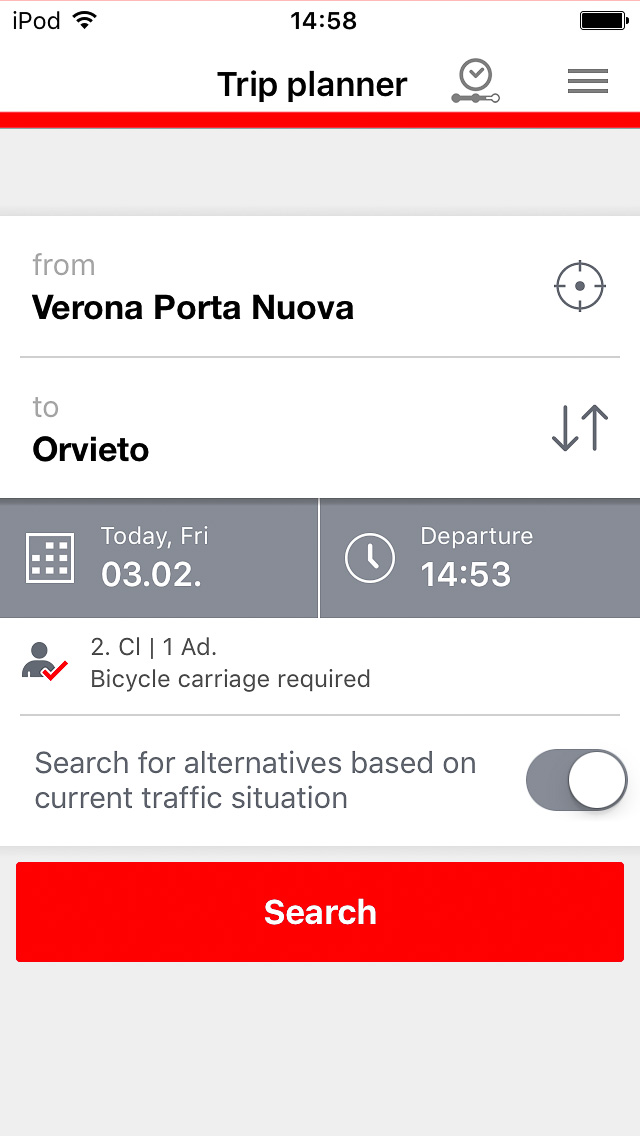 DB Navigator search screen with bicycle carriage option selected