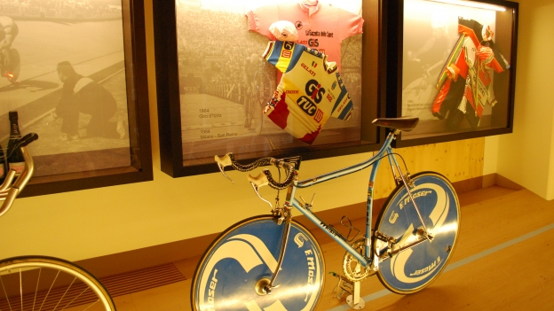 The Museo Moser: one of Francesco Moser's bikes, and in the background one of the family's collection of pink jerseys