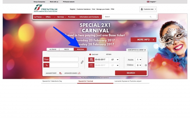 trenitalia.com home page. Click the red tab for regional trains